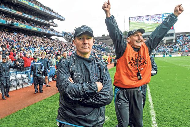 Mr Cool: Jim Gavin and selector Mick Deegan just before the final whistle of the 2015 All-Ireland SFC final victory over Kerry. Photo: Sportsfile