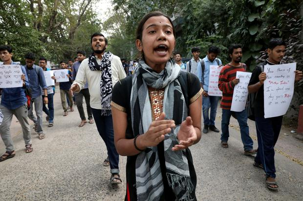 Students shout slogans during a protest against the alleged rape and murder of a 27-year-old woman, in Kolkata, India, December 2, 2019. Picture: REUTERS/Rupak De Chowdhuri