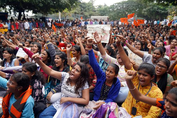 People shout slogans during a protest against the alleged rape and murder of a 27-year-old woman in Hyderabad, India, December 2, 2019. Picture: REUTERS/Vinod Babu