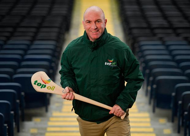 Former Kilkenny hurler and Competition Ambassador DJ Carey stands for a portrait during the Top Oil Leinster GAA Post Primary Schools Hurling Launch at Croke Park. Photo: Seb Daly/Sportsfile