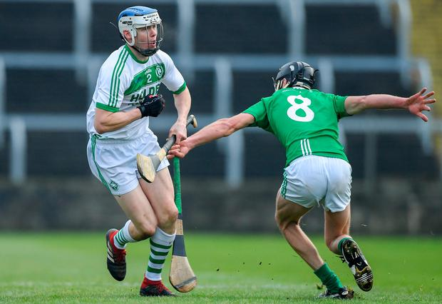 TJ Reid of Ballyhale Shamrocks in action against Michael Walsh of St Mullin's during the AIB Leinster Senior Hurling Club Championship Final match between Ballyhale Shamrocks and St Mullin's at MW Hire O'Moore Park in Portlaoise, Co Laois. Photo by Piaras Ó Mídheach/Sportsfile