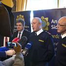 03/12/'19 From left, Andrew McLindon, Director of Corporate Communications with An Garda Siochana, and Deputy Commissioner, John Twomey and Assistant Commissioner, Michael Finn pictured this morning at Garda Head Quarters, Phoenix park for a media briefing on recorded crime detection 2018....Picture Colin Keegan, Collins Dublin