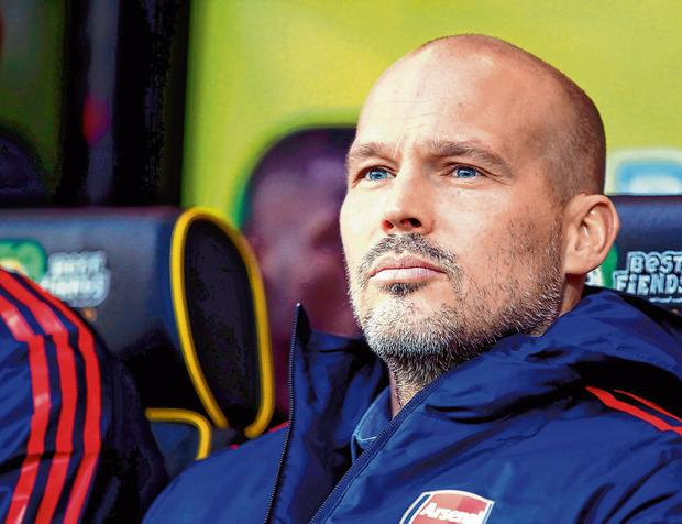 Freddie Ljungberg is looking to end Arsenal's run of eight games without a win when they face Brighton tomorrow. Photo: Adam Davy/PA Wire