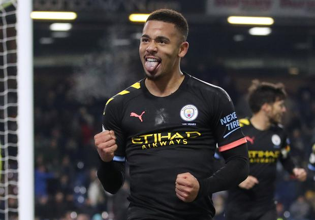 Gabriel Jesus celebrates after scoring for Man City during the 3-0 win over Burnley. Action Images via Reuters/Carl Recine