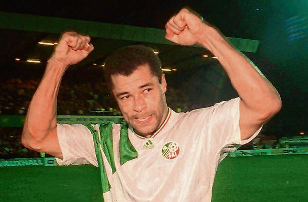 Paul McGrath is pictured during the World Cup qualifying draw at Windsor Park back in 1993. Photo: David Maher / Sportsfile
