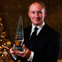 Jim Gavin shows off his Signify Sports Manager of the Year 2019 award at The Intercontinental Hotel in Ballsbridge, Dublin. Photo: Harry Murphy/Sportsfile