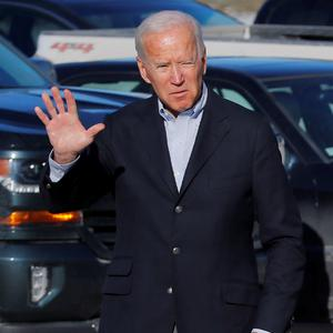 "On tour: Joe Biden arrives for a stop in Iowa on his ""No Malarkey!"" campaign bus tour. Photo: Reuters"