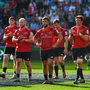 The dejected Munster players applaud supporters after the Champions Cup semi-final defeat to Saracens last season. Photo: Brendan Moran/Sportsfile