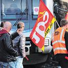 Rail workers of CGT union demonstrate in Hendaye, south-west France. Photo: Bob Edme