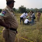 Forensic officials examine the bodies at the site where police shot dead four men suspected of raping and killing a 27-year-old veterinarian in India. Photo: Reuters