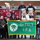 Action: Members of the IFA taking part in the blockade at the Aldi Distribution Centre in Naas, Co Kildare. Photo: Steve Humphreys
