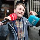 Amazing strides: Proud Iarlaith Ó Cinnéide speaks to the media on leaving the Four Courts. Photo: Collins Courts