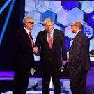 Britain's Prime Minister Boris Johnson and opposition Labour Party leader Jeremy Corbyn shake hands during a head-to-head debate on the BBC in London, Britain December 6, 2019. Jeff Overs/BBC/Handout via REUTERS
