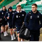 Jordan Larmour of Leinster, right, arrives ahead of the clash against Northampton Saints