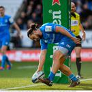 James Lowe of Leinster scores his side's first try