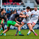 7 December 2019; Jacob Stockdale of Ulster is tackled by James Lang of Harlequins during the Heineken Champions Cup Pool 3 Round 3 match between Ulster and Harlequins at Kingspan Stadium in Belfast. Photo by Oliver McVeigh/Sportsfile