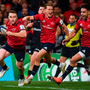 7 December 2019; Rory Scannell of Munster, supported by team-mates Mike Haley and Conor Murray, goes through to score a try which was subsequently disallowed during the Heineken Champions Cup Pool 4 Round 3 match between Munster and Saracens at Thomond Park in Limerick. Photo by Diarmuid Greene/Sportsfile
