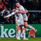 7 December 2019; Ulster players John Cooney, Billy Burns, and Louis Ludik celebrates after the Heineken Champions Cup Pool 3 Round 3 match between Ulster and Harlequins at Kingspan Stadium in Belfast. Photo by Oliver McVeigh/Sportsfile