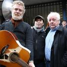 Glen Hansard, Christy Dignam and director Jim Sheridan at the Apollo House protest in Dublin. Picture: Gerry Mooney