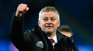Manchester United manager Ole Gunnar Solskjaer reacts after the final whistle