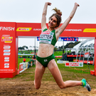Ireland's Stephanie Cotter celebrates winning a bronze medal in the Women's U23s race at the European Cross Country Championships. Photo by Sam Barnes/Sportsfile