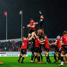 7 December 2019; Jack ODonoghue of Munster takes possession in a line-out ahead of ahead of Nick Isiekwe of Saracens during the Heineken Champions Cup Pool 4 Round 3 match between Munster and Saracens at Thomond Park in Limerick. Photo by Seb Daly/Sportsfile