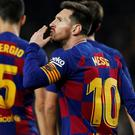 Following Real Madrid's 2-0 victory over Espanyol to temporarily move top, the pressure was again on Barca to provide a response and they did so in emphatic fashion, with the mercurial Messi again at its heart. Photo: Reuters/Albert Gea