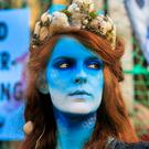 Bodypainted Mermaid Ceara Carney during a protest by members of Extinction Rebellion and Irish Wildlife Trust calling on Irish Government to uphold the law and end overfishing. Photo:Gareth Chaney/Collins