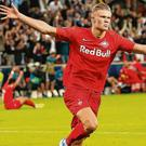 Flying high: Erling Braut Haaland is in a rich vein of form for Red Bull Salzburg ahead of tonight's showdown with Liverpool. Photo: Krugfoto/AFP via Getty Images