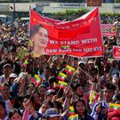 People gather to rally in support of Myanmar State Counsellor Aung San Suu Kyi in Bago, Myanmar. Photo: Reuters/Myat Thu Kyaw