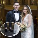 Dublin GAA player Philly McMahon and wife Sarah Lacey after they got married today in Kildare, centre, and Philly's sock-less style, inset