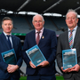 GAA director of games development Shane Flanagan (left), president John Horan and committee chair Michael Dempsey at the launch of the talent academy and player development report. Photo: Harry Murphy/Sportsfile