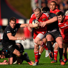 Visitors' graveyard: Munster winger Andrew Conway being tackled by Saracens' pair David Strettle (left) and Jamie George during their 2015 Champions Cup encounter at Allianz Park, a venue where the home side have won 20 of their 21 games in European club competition. Photo: Brendan Moran/Sportsfile
