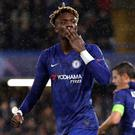Tammy Abraham celebrates scoring the opening goal during Chelsea's 2-1 win over Lille. (AP Photo/Kirsty Wigglesworth)
