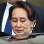 Defence: Myanmar's leader Aung San Suu Kyi leaves the International Court of Justice in The Hague yesterday.