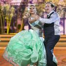RTE's Marty Morrissey and KseniaZsikhotska during the opening show of RTE's Dancing with the Stars. kobpix