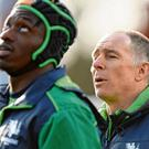 Connacht coach Andy Friend and winger Niyi Adeolokun compose themselves ahead of last weekend's game against Gloucester. Photo: Ramsey Cardy/Sportsfile