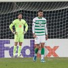 Celtic's players are dejected after CFR scored their second goal during an Europa League group E soccer match between CFR Cluj and Celtic, at the Constantin Radulescu stadium, in Cluj, Romania, Thursday, Dec. 12, 2019. (AP Photo/Cristian Cosma)