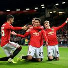 Soccer Football - Europa League - Group L - Manchester United v AZ Alkmaar - Old Trafford, Manchester, Britain - December 12, 2019 Manchester United's Mason Greenwood celebrates scoring their fourth goal REUTERS/Jon Super TPX IMAGES OF THE DAY