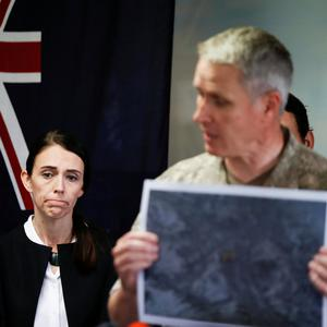 New Zealand's Prime Minister Jacinda Ardern looks on at a media standup in the aftermath of the eruption of White Island volcano, also known by its Maori name Whakaari, at Whakatane, New Zealand December 13, 2019. REUTERS/Jorge Silva