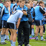 18 September 2011; Dublin manager Dessie Farrell comforts Cormac Costello after the game. GAA Football All-Ireland Minor Championship Final, Tipperary v Dublin, Croke Park, Dublin. Picture credit: Ray McManus / SPORTSFILE