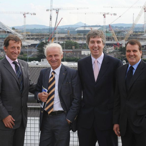 Andrew Hampel, Chief Executive, International Stadia Group, Ireland manager Giovanni Trapattoni, FAI Chief Executive John Delaney and Ireland assistant manager Marco Tardelli at the launch of Vantage Club 10-year Ticket Scheme at Lansdowne Road in September 2008. Photo: Brendan Moran /Sportsfile