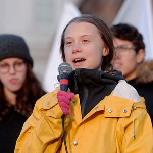 Has no chill: Activist Greta Thunberg gives a speech during the Friday for Future strike on climate emergency, in Turin, Italy. Photo: Getty Images