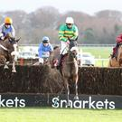 Brelan D'as Ridden by Bryony Frost (Centre) wins at Haydock 22/12 /18 Photograph by Grossick Racing Photography 0771 046 1723