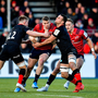 Chris Farrell of Munster is tackled by Nick Tompkins, left, and Ben Earl of Saracens during the Heineken Champions Cup Pool 4 Round 4 match between Saracens and Munster at Allianz Park in Barnet, England. Photo by Seb Daly/Sportsfile
