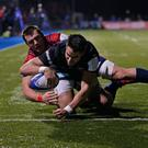 Sean Maitland scored Saracens' opening try in the 15-6 win over Munster. (Photo by Henry Browne/Getty Images)
