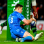Garry Ringrose of Leinster scores his and his side's second try during the Heineken Champions Cup Pool 1 Round 4 match between Leinster and Northampton Saints at the Aviva Stadium in Dublin. Photo by Ramsey Cardy/Sportsfile