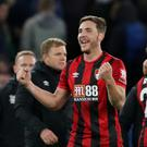 Dan Gosling celebrates after Bournemouth's 1-0 win over Chelsea at Stamford Bridge. REUTERS/David Klein