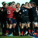 A mass brawl breaks out between the teams during the Heineken Champions Cup Round 4 match between Saracens and Munster Rugby at Allianz Park on December 14, 2019 in Barnet, England. (Photo by David Rogers/Getty Images)