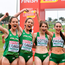 The Ireland U23 Women's team, from left, Eilish Flanagan, Roisin Flanagan, Stephanie Cotter, Claire Fagan, Sorcha McAlister and Fian Sweeney celebrate winning a team silver medal during the European Cross Country Championships 2019 at Bela Vista Park in Lisbon, Portugal. Photo: Sam Barnes/Sportsfile